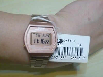 New CASIO Rose Gold Digital Stainless Steel Alarm Watch B640WC-5 100% Original
