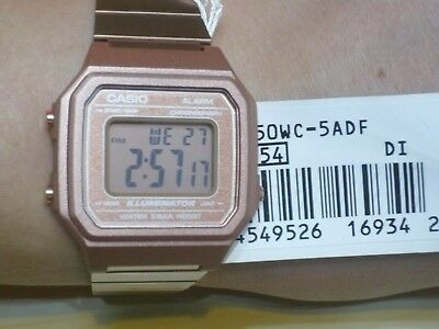 New CASIO Rose Gold Digital Stainless Steel Alarm Watch B650WC-5 100% Original