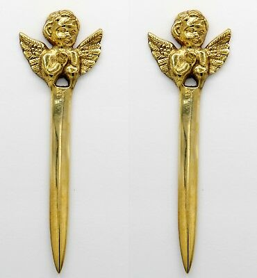 1 Set ANGEL VINTAGE BRASS LETTER OPENER   Office Mail Envelope opener