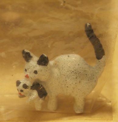 Vintage Miniature Dollhouse Black and White Cat Carrying Kitten In the Mouth New