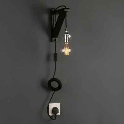 Retro Industrial Minimalist LampShade Plug In Wall Light Sconce Wooden Bracket
