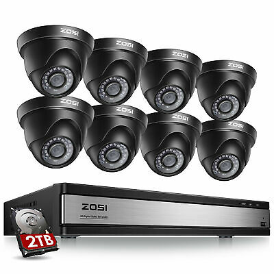 ZOSI 16Ch 720P DVR Recorder 2TB Home Video Surveillance Security Camera System