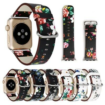 1PC Floral Flower Leather Strap Wrist Band 38/42mm For iWatch Apple Watch 1 2 3