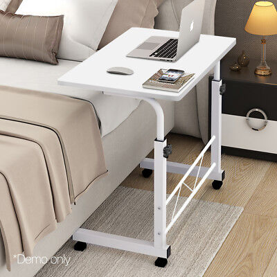 Portable Adjustable Wooden Laptop Stand White Lightweight Strong Wheels Rotate
