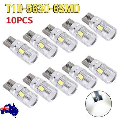 10PCS T10 Wedge 6SMD Parker Number Plate LED Bulbs W5W 194 168 131 WHITE