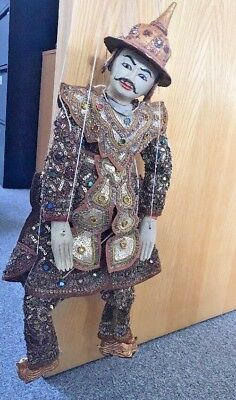 Beautiful Wooden Hand Made Vintage Burmese Warrior Embroidered Marionette