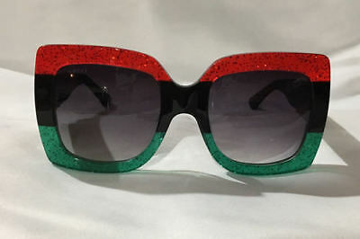 8c32f053dae Authentic- New Gucci Sunglasses GG0083 Red Green Frame Black Black Lens
