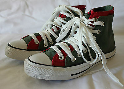 CONVERSE CHUCK TAYLOR ~ Khaki & Red Double Tongue & Laces High Top Sneakers M 5