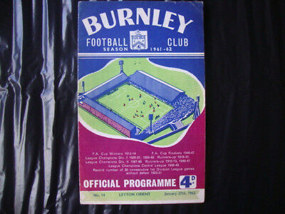 1961/2 Burnley v Leyton Orient / FA Cup 4th Round