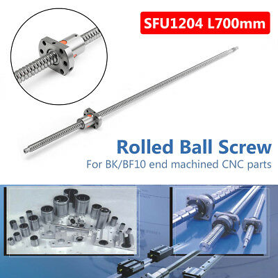 SFU1204 L700mm 10mm CNC Rolled Ball Screw Ball nut Bearing BK/BF10 End Machined