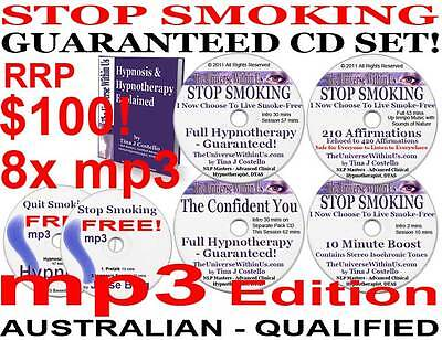 SMOKING QUIT STOP HYPNOSIS HYPNOTHERAPY SYSTEM NLP mp3 Edition of CD Set + Aids