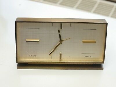 Rare Swiza 8 day brass clock