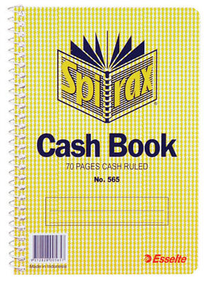 Spirax 565 Cash Book Side Opening 167 x 114mm 70 Page