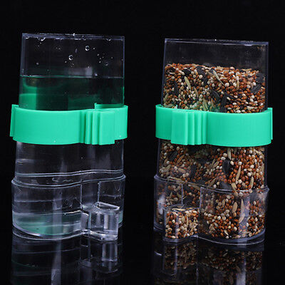 Clear Acrylic Pet Parrot Bird Finches Automatic Cage Food Water Feeder Hopper