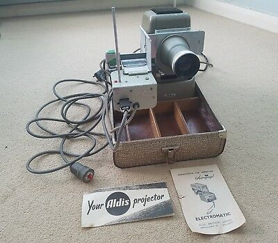 Aldis Brothers 1950s Slide Projector with Remote Control