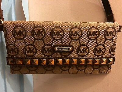 cb81759fae00 NWT Michael Kors MK Brown Bronze Reflective Studded Cross Body Clutch Side  Bag