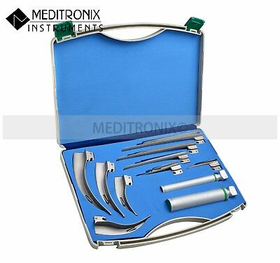 Meditronix© Premium Quality Fiber-Optic Mac/miller Laryngoscope Set - 9 Blades