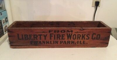 Vintage Liberty Fireworks Franklin Park Ill Wood Box