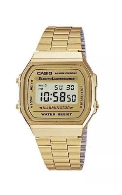 Genuine CASIO Retro Classic Unisex Digital Steel Bracelet Watch-A168WA-1YES