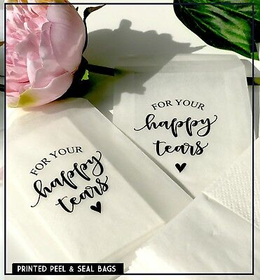 Happy Tears Wedding Birthday Glassine bags Peel + Seal Confetti,  89 x 117mm x10