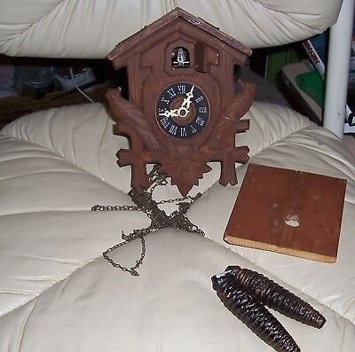 Vintage Cuckoo Clock, Weights, FOR PARTS. Made in Germany. Imius Junior.