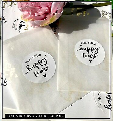 Happy Tears foil stickers & Glassine bags Peel + Seal Confetti,  Rose Gold x10