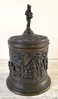 French Antique Bronzed Tobacco Jar with a Detailed Relief Frieze – by A B Paris