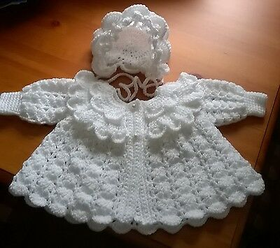 hand made cardigan  and bonnet  0/3 months