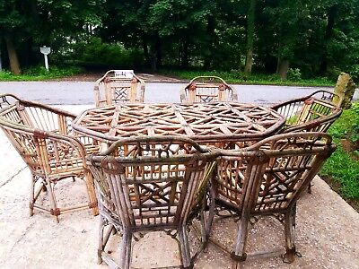 Chinese Chippendale LARGE Dining table + 6 chairs RARE and one of a kind pieces