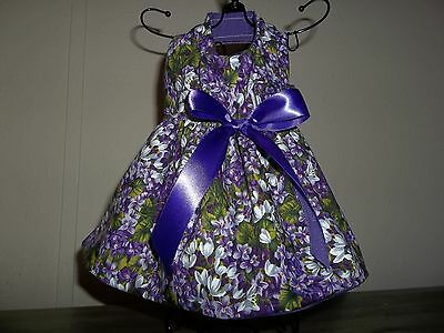 Purple Floral Dress Handmade for dogs in sizes xs to xl
