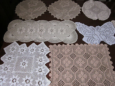 Lovely Collection Of 8 Filet Crochet Lace Doilies