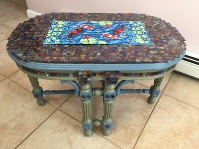Antique Table Repurposed Arts & Crafts Koi Fish Tile & Mosaic Glass Tile Pick Up