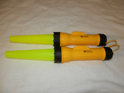 Vintage Northwest Airlines  Two (2) Yellow Ramp flashlights Wands  w/ NWA print