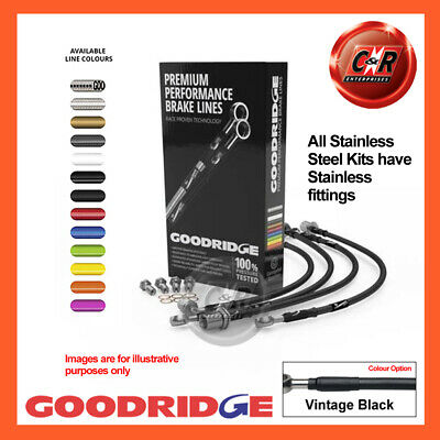 Fiat Multipla 1.6 Dynamic NO ABS 98 04 SS V.Black Goodridge Hoses SFT1101-6C-VB