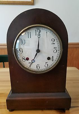 Antique New Haven Mantle Clock,Shelf,8 Day,Wood,Chime,Wind-Up,Pendulum,USA,Art