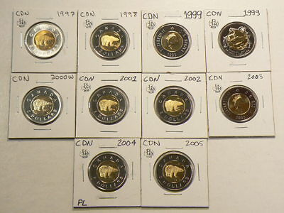1997 to 2005 Canada $2  Lot of 10 Unc Coins #G1065