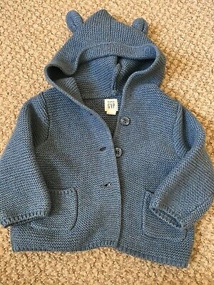Baby Boy GAP Hooded Cardigan 3-6 Months
