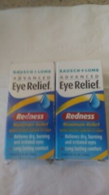 2 PACK Bausch & Lomb Eye Relief Maximum Redness Drops - 0.5 oz