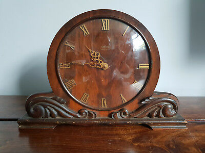 Vintage 1960's Smiths Mahogany & Oak 8 Day Mantle Clock (Antique Wooden Clock)