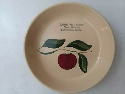 WATT POTTERY APPLE PIE PLATE ADVERTISING CLARISSA MEAT MARKET MINNesota unused