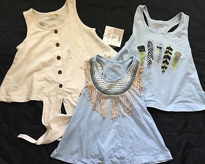 JAK & PEPPAR Everyday Tank Fringe Down Crop Feather Tops LOT Size 10