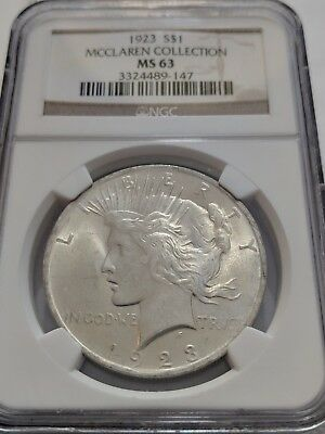 1923 NGC MS 63 Peace Silver One Dollar S$1 Coin BU UNC (McClarren Collection)