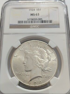 1924 NGC MS 63 Uncirculated Peace Silver One Dollar S$1 Coin BU UNC (085)