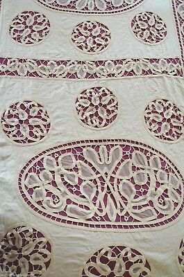 Antique French hand made tape lace heavy linen bed cover, tulle frill, pom poms