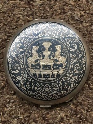 Thailand Siam Niello Ware Silver Sterling 925 Asian Compact Ladies Makeup Nakhon