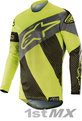 2019 Alpinestars Racer Tech Atomic Black Yellow MX Motocross Race Jersey Adults