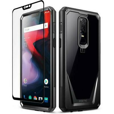Poetic OnePlus 6 Rugged Case [Guardian] w/ Free Tempered Glass Screen Black