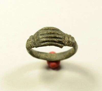 Rare Roman Bronze Clasped Hands Ring-Wedding Ring - STUNNING ARTIFACT