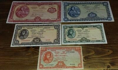 Lady Lavery Set Of 5  £1  £5 £10   £20 10/-  All  Extra Fine Plus  See Scans