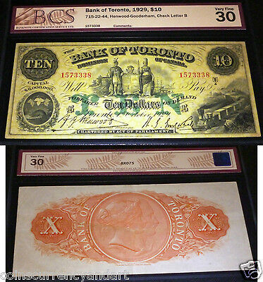 Bank Of Toronto 1929  $10 , Large Banknote With Beautiful Images